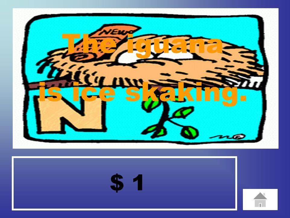 $ 1 The iguana is ice skaking.