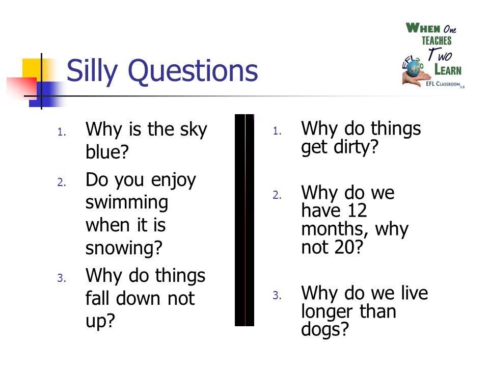 Silly Questions 1. Why is the sky blue. 2. Do you enjoy swimming when it is snowing.