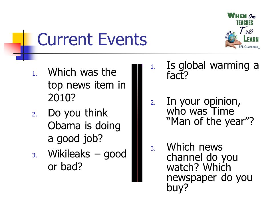 Current Events 1. Which was the top news item in 2010.