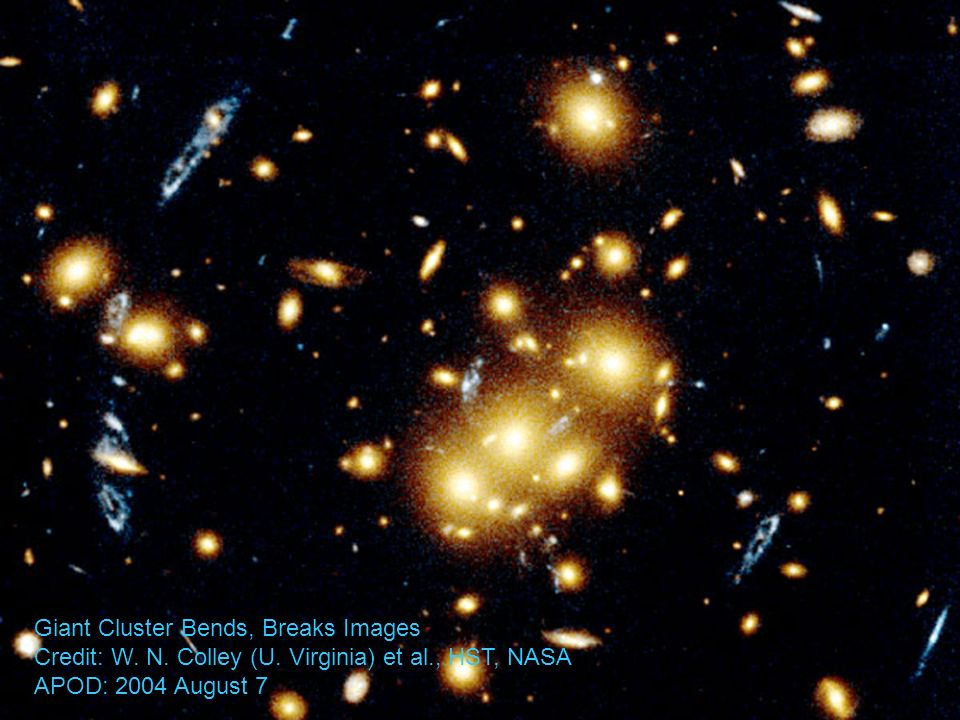 Giant Cluster Bends, Breaks Images Credit: W. N. Colley (U. Virginia) et al., HST, NASA APOD: 2004 August 7