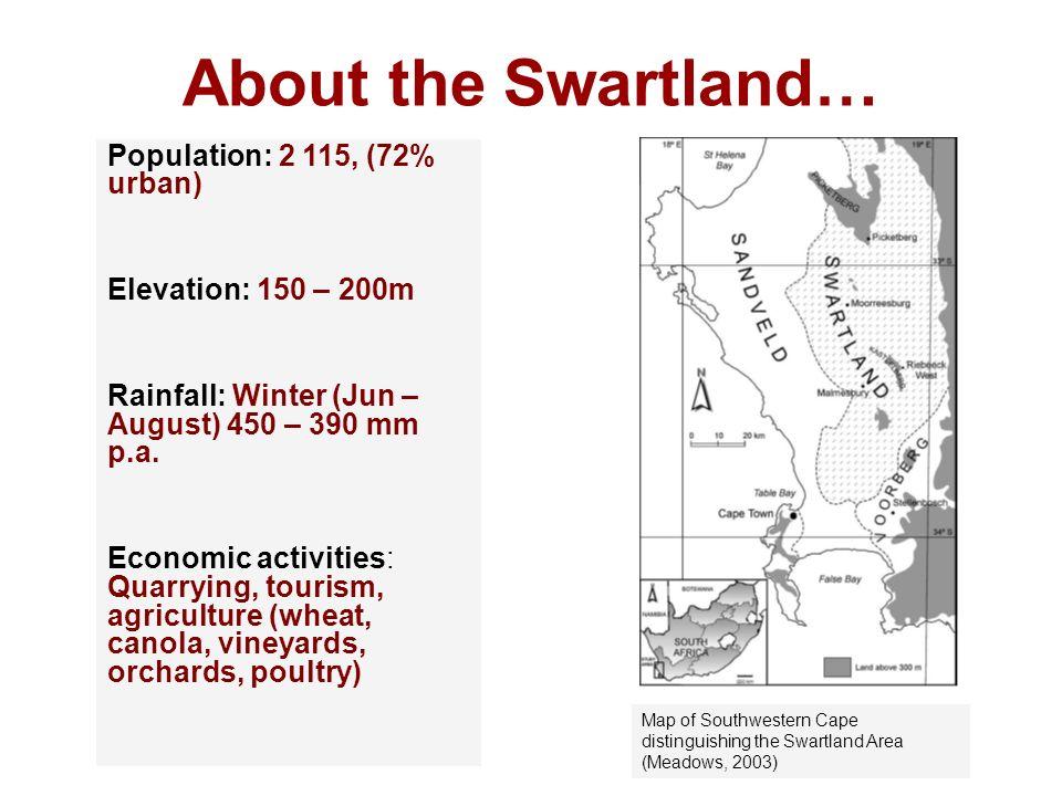 About the Swartland… Population: 2 115, (72% urban) Elevation: 150 – 200m Rainfall: Winter (Jun – August) 450 – 390 mm p.a. Economic activities: Quarr