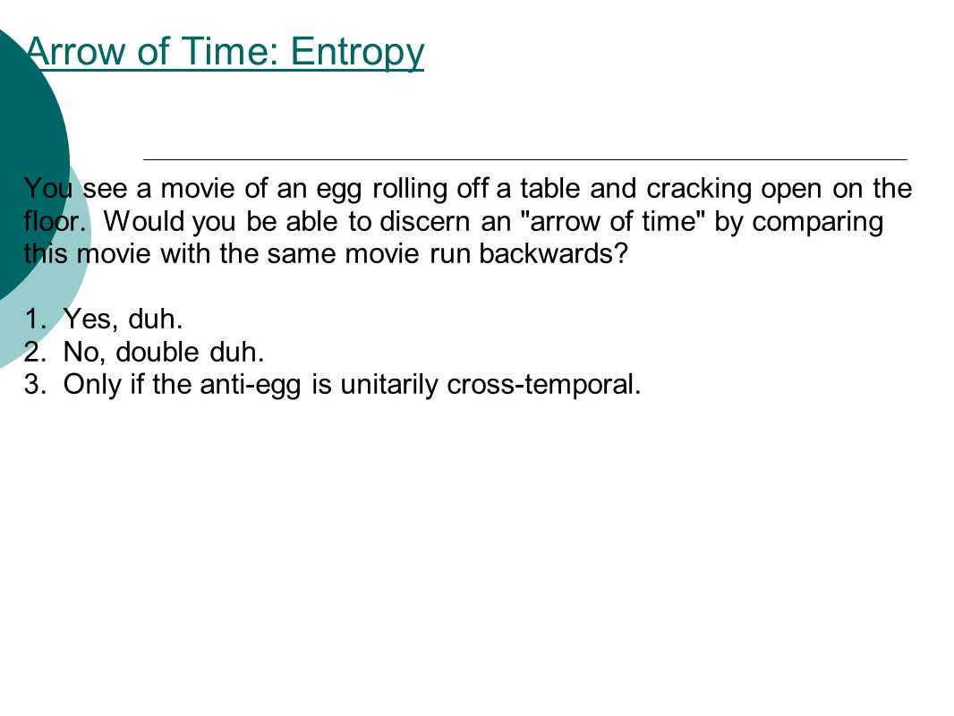 Arrow of Time: Entropy You see a movie of an egg rolling off a table and cracking open on the floor.