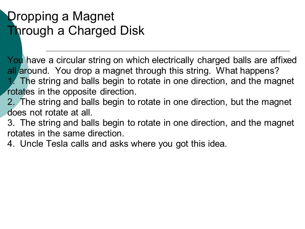 Dropping a Magnet Through a Charged Disk You have a circular string on which electrically charged balls are affixed all around.