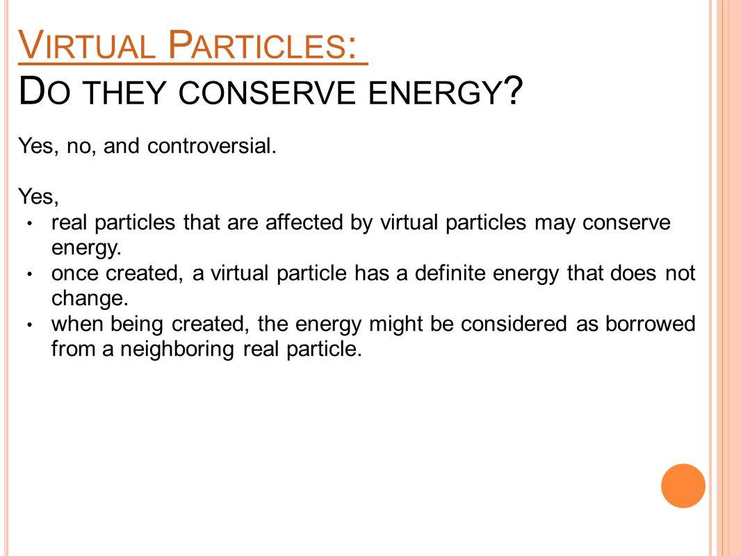 V IRTUAL P ARTICLES : V IRTUAL P ARTICLES : D O THEY CONSERVE ENERGY .