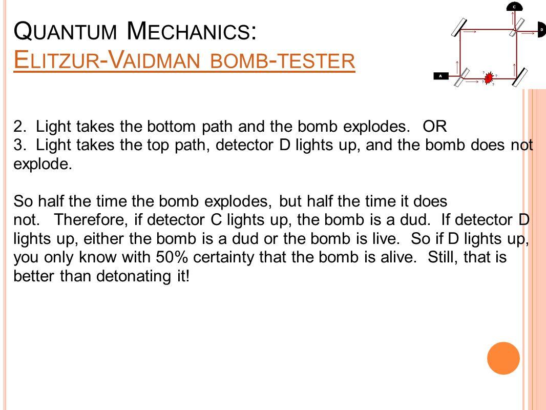 Q UANTUM M ECHANICS : E LITZUR -V AIDMAN BOMB - TESTER E LITZUR -V AIDMAN BOMB - TESTER 2. Light takes the bottom path and the bomb explodes. OR 3. Li