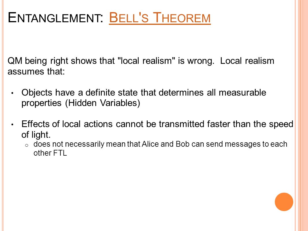 E NTANGLEMENT : B ELL S T HEOREMB ELL S T HEOREM QM being right shows that local realism is wrong.