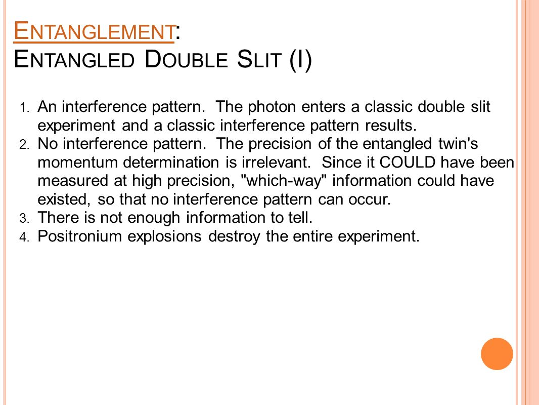 E NTANGLEMENT : E NTANGLED D OUBLE S LIT (I) 1.Interference pattern.