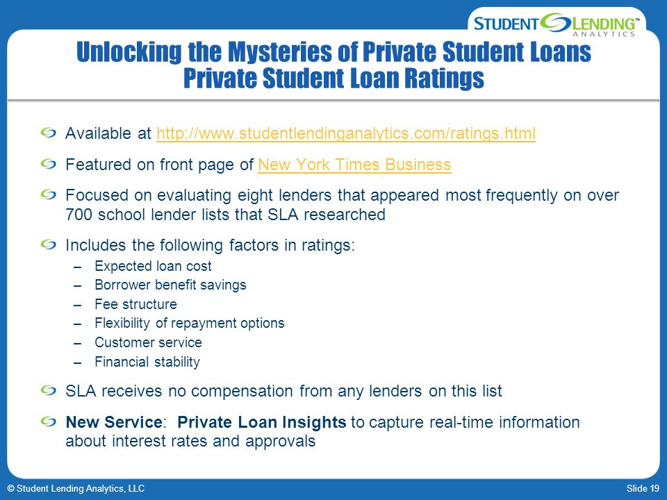 Slide 19© Student Lending Analytics, LLC Unlocking the Mysteries of Private Student Loans Private Student Loan Ratings Available at   Featured on front page of New York Times BusinessNew York Times Business Focused on evaluating eight lenders that appeared most frequently on over 700 school lender lists that SLA researched Includes the following factors in ratings: –Expected loan cost –Borrower benefit savings –Fee structure –Flexibility of repayment options –Customer service –Financial stability SLA receives no compensation from any lenders on this list New Service: Private Loan Insights to capture real-time information about interest rates and approvals