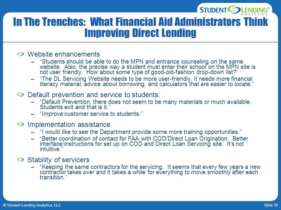 Slide 10© Student Lending Analytics, LLC In The Trenches: What Financial Aid Administrators Think Improving Direct Lending Website enhancements –Stude