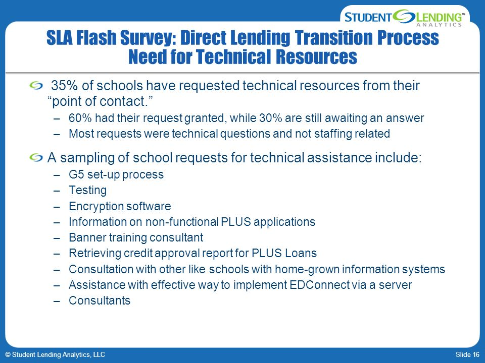 Slide 16© Student Lending Analytics, LLC SLA Flash Survey: Direct Lending Transition Process Need for Technical Resources 35% of schools have requeste