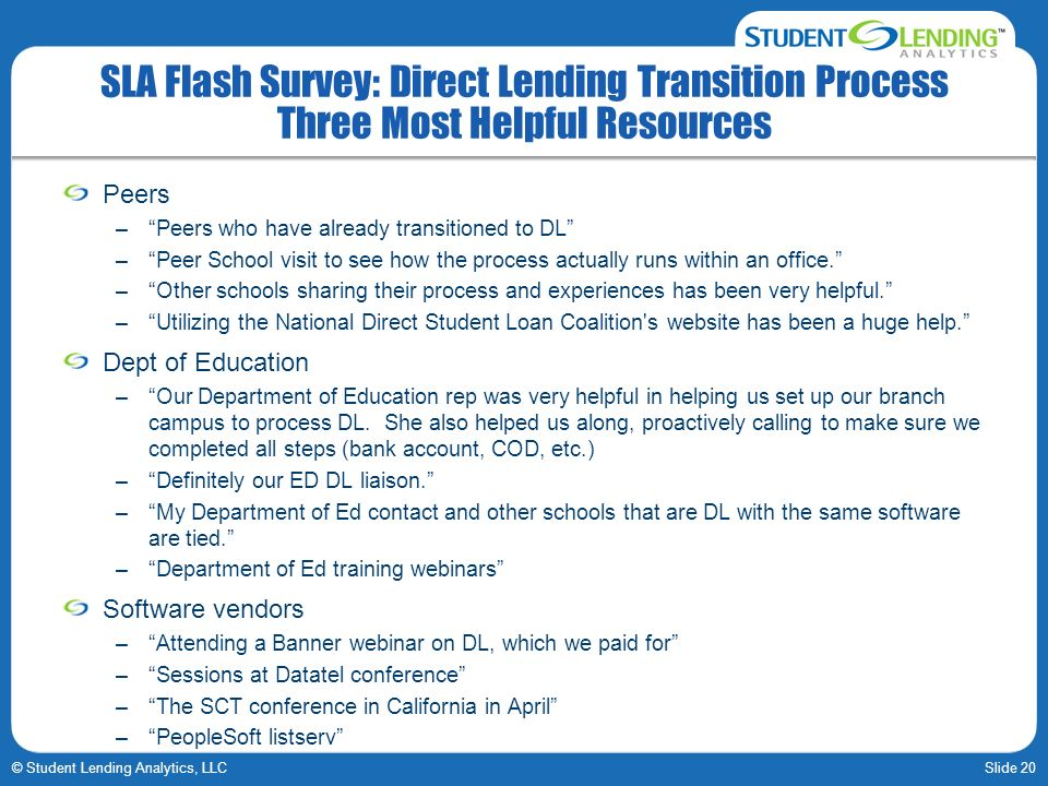 Slide 20© Student Lending Analytics, LLC SLA Flash Survey: Direct Lending Transition Process Three Most Helpful Resources Peers –Peers who have alread