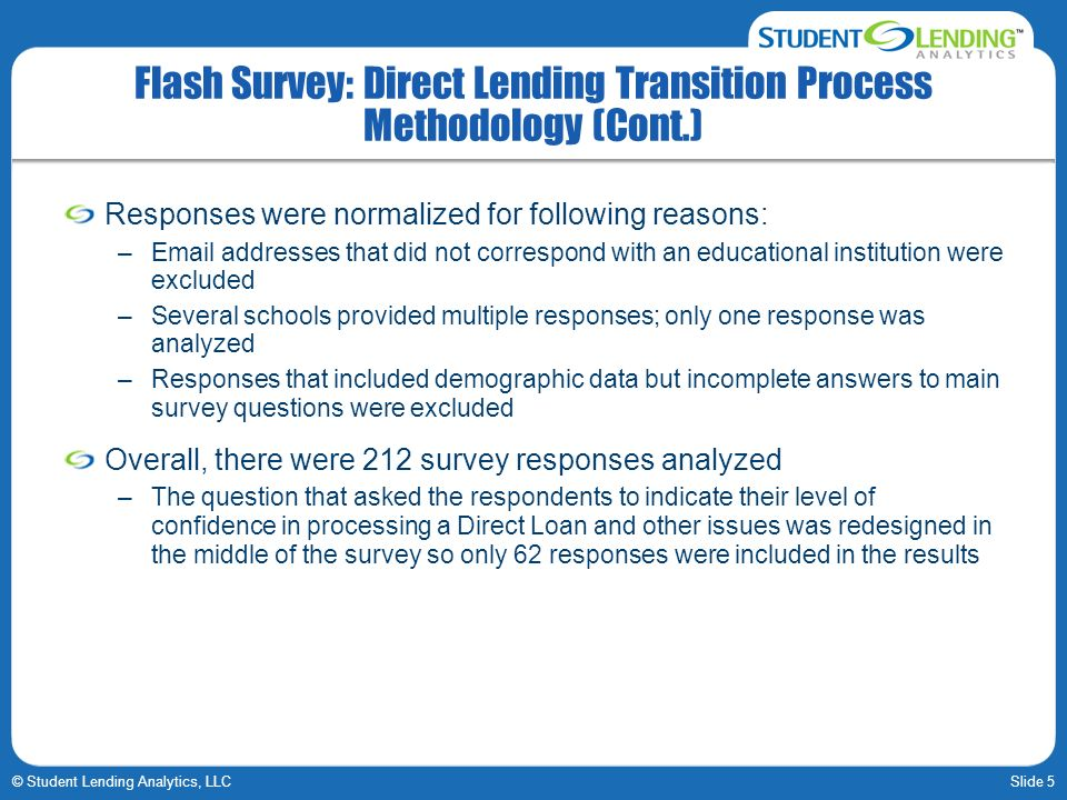 Slide 5© Student Lending Analytics, LLC Flash Survey: Direct Lending Transition Process Methodology (Cont.) Responses were normalized for following re
