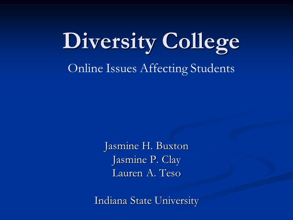 Diversity College Jasmine H. Buxton Jasmine P. Clay Lauren A. Teso Indiana State University Online Issues Affecting Students