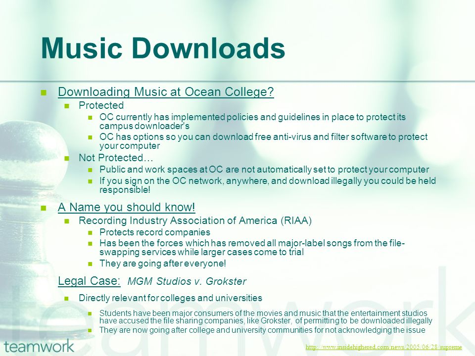Music Downloads Downloading Music at Ocean College.