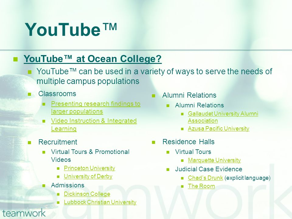 YouTube YouTube at Ocean College? YouTube can be used in a variety of ways to serve the needs of multiple campus populations Alumni Relations Gallaude