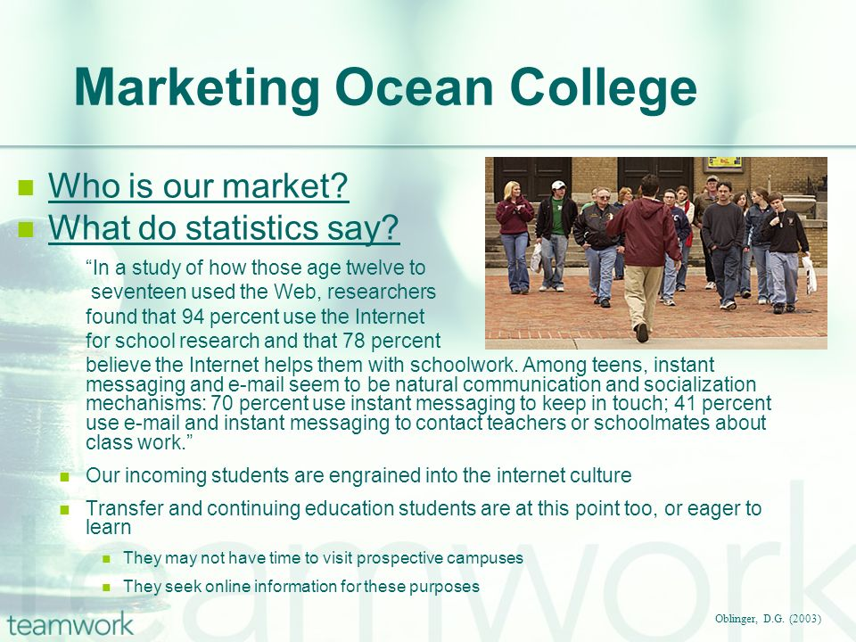 Marketing Ocean College Oblinger, D.G. (2003) Who is our market? What do statistics say? In a study of how those age twelve to seventeen used the Web,