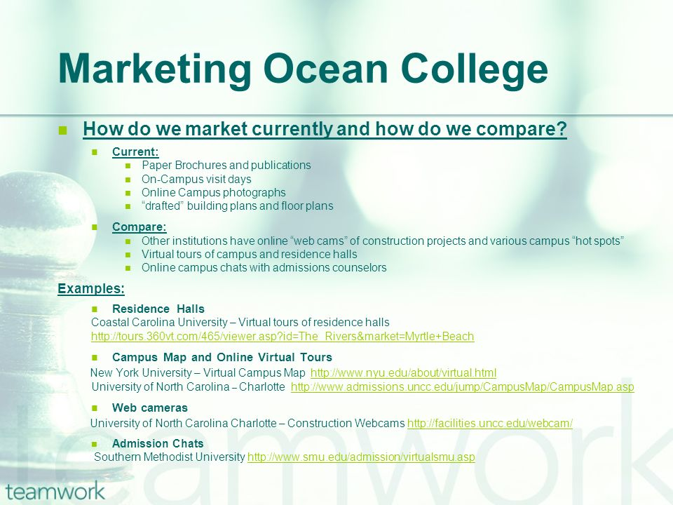 How do we market currently and how do we compare? Current: Paper Brochures and publications On-Campus visit days Online Campus photographs drafted bui