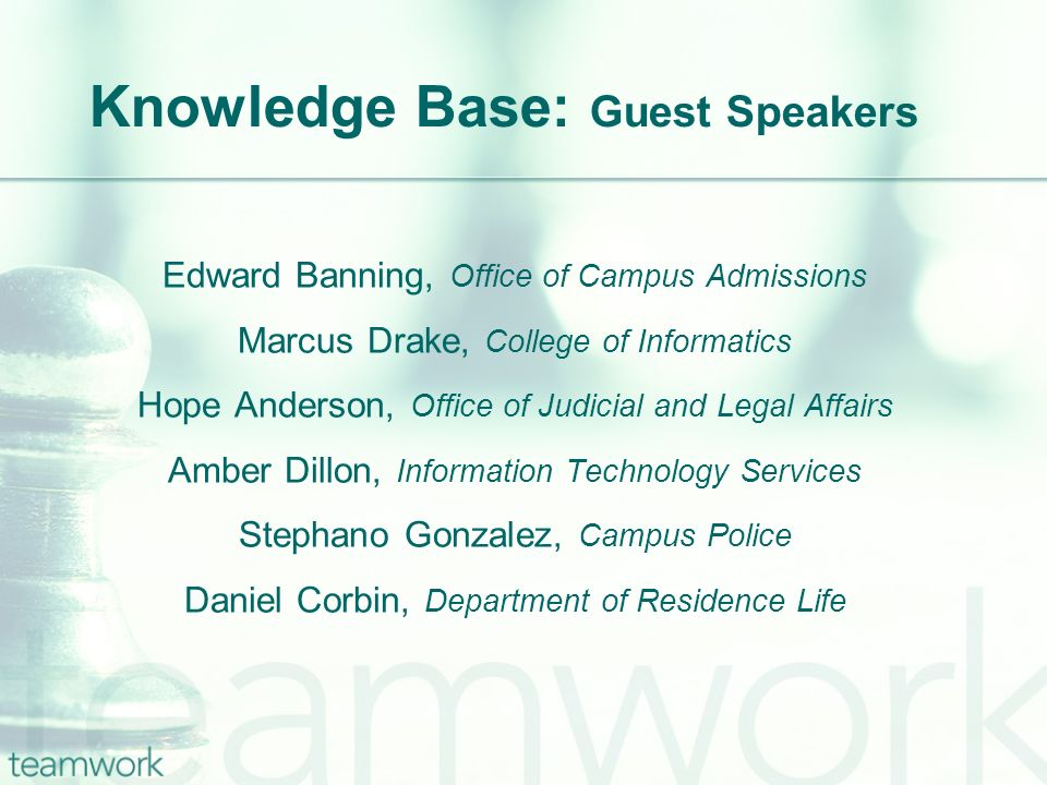 Knowledge Base: Guest Speakers Edward Banning, Office of Campus Admissions Marcus Drake, College of Informatics Hope Anderson, Office of Judicial and