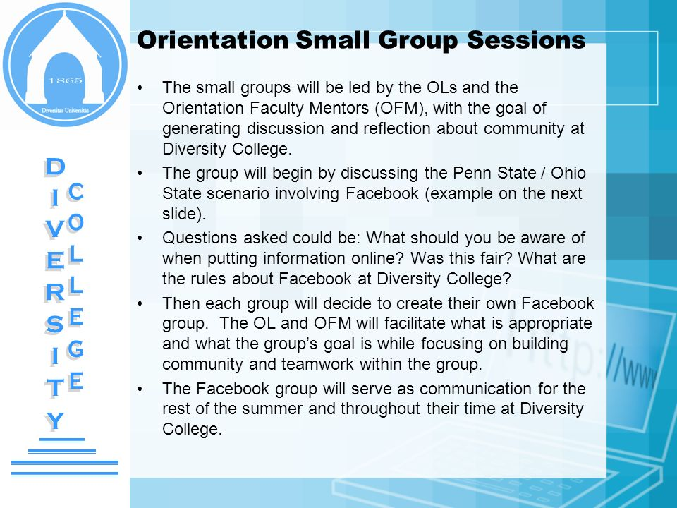 Orientation Small Group Sessions The small groups will be led by the OLs and the Orientation Faculty Mentors (OFM), with the goal of generating discus