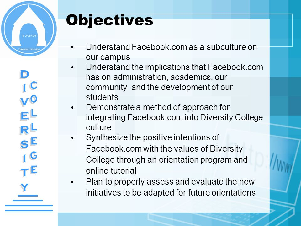 Objectives Understand Facebook.com as a subculture on our campus Understand the implications that Facebook.com has on administration, academics, our c