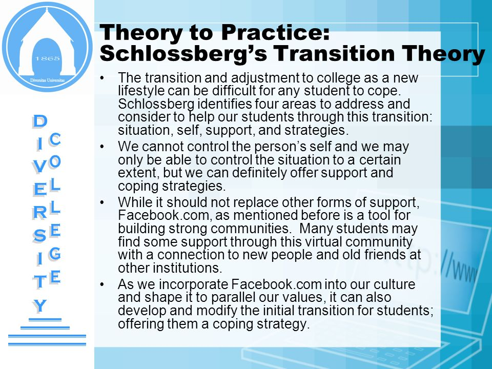 Theory to Practice: Schlossbergs Transition Theory The transition and adjustment to college as a new lifestyle can be difficult for any student to cop