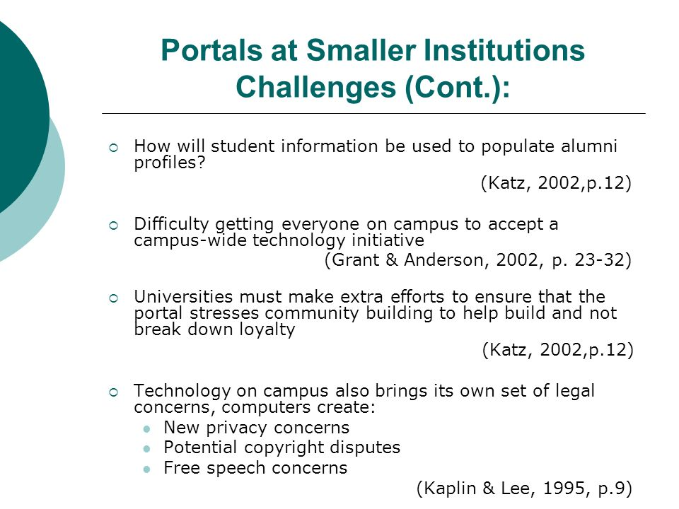 Portals at Smaller Institutions Challenges (Cont.): How will student information be used to populate alumni profiles.