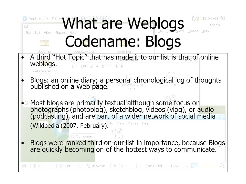 What are Weblogs Codename: Blogs Technorati a search engine took a close look at usage data from companies like Google, yahoo and other sites and they had this to say.