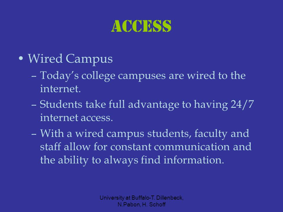 University at Buffalo-T. Dillenbeck, N.Pabon, H. Schoff Access Wired Campus –Todays college campuses are wired to the internet. –Students take full ad