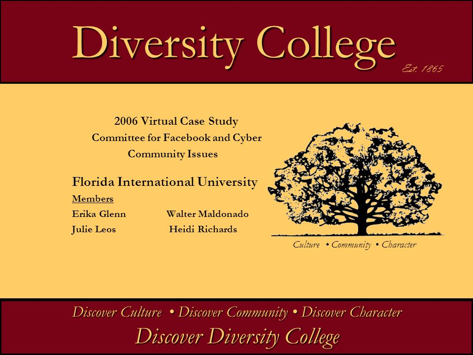 Diversity College Diversity College 2006 Virtual Case Study Committee for Facebook and Cyber Community Issues Florida International University Members Erika GlennWalter Maldonado Julie Leos Heidi Richards Discover Culture Discover Community Discover Character Discover Diversity College Est.
