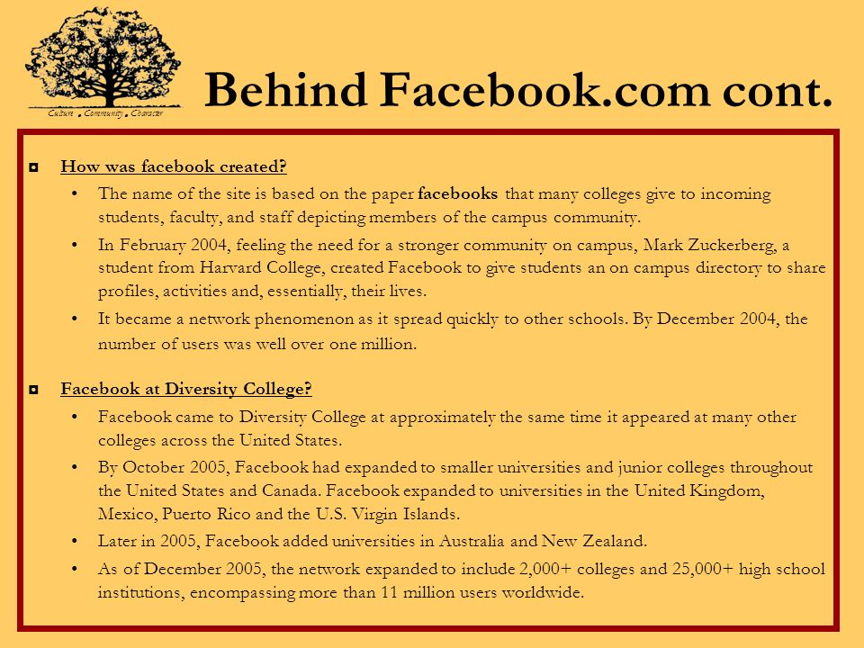 Behind Facebook.com cont. How was facebook created.