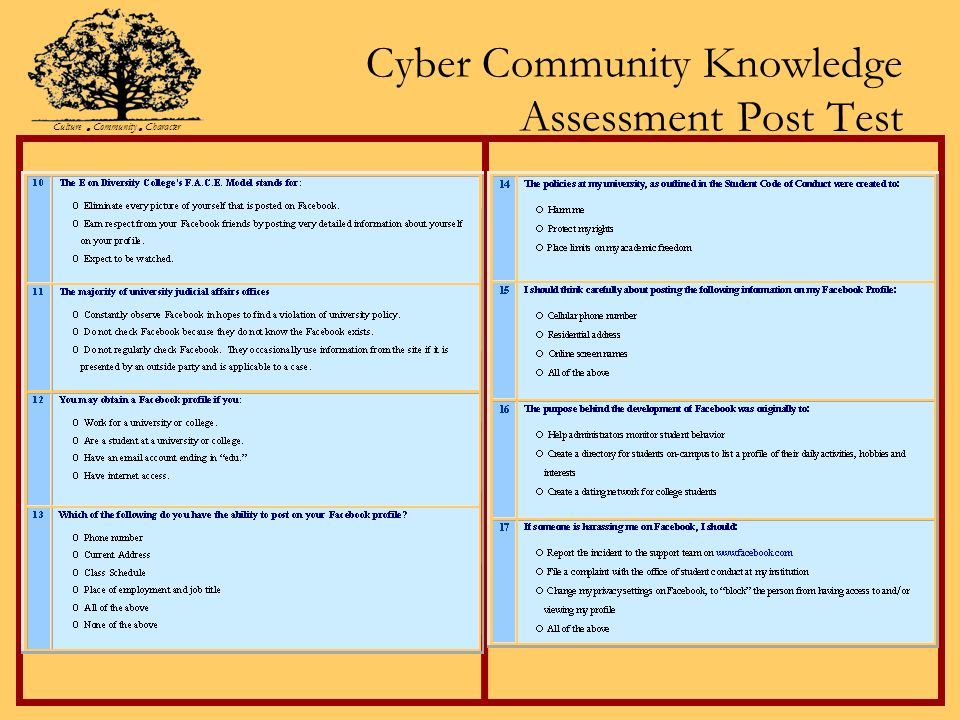 Cyber Community Knowledge Assessment Post Test Culture Community Character
