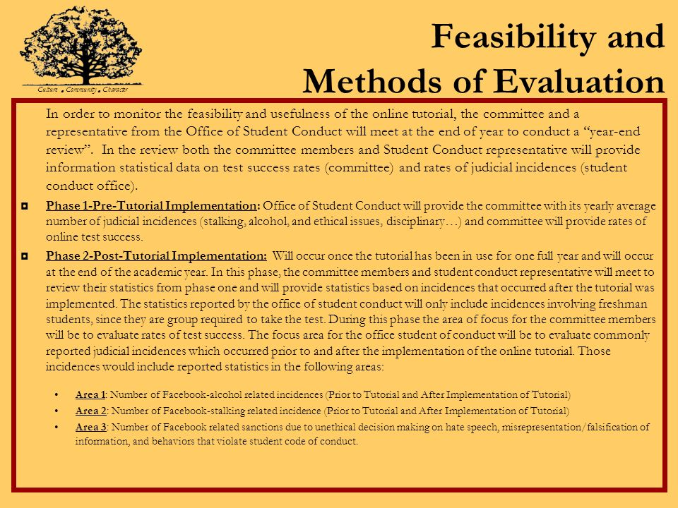 Feasibility and Methods of Evaluation In order to monitor the feasibility and usefulness of the online tutorial, the committee and a representative from the Office of Student Conduct will meet at the end of year to conduct a year-end review.
