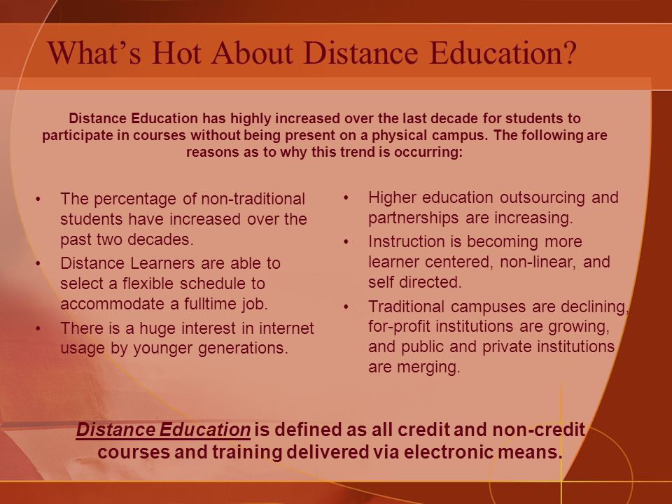 Whats Hot About Distance Education.