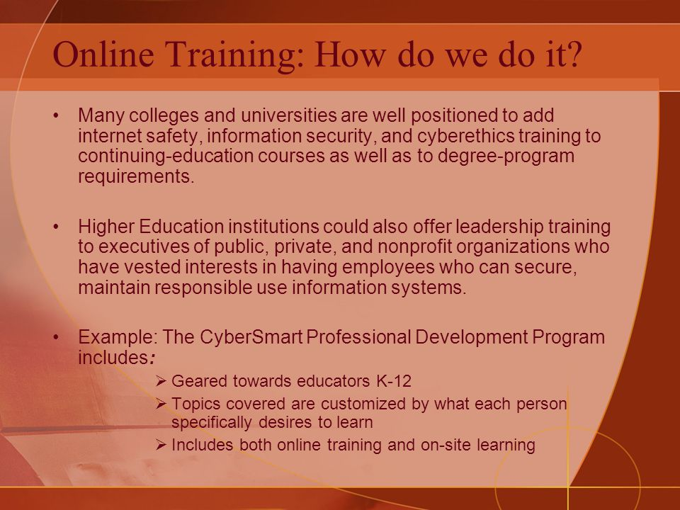 Online Training: How do we do it.