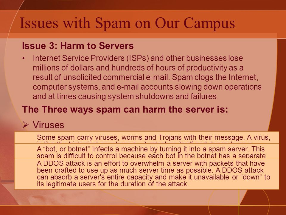 Issue 3: Harm to Servers Internet Service Providers (ISPs) and other businesses lose millions of dollars and hundreds of hours of productivity as a result of unsolicited commercial e-mail.