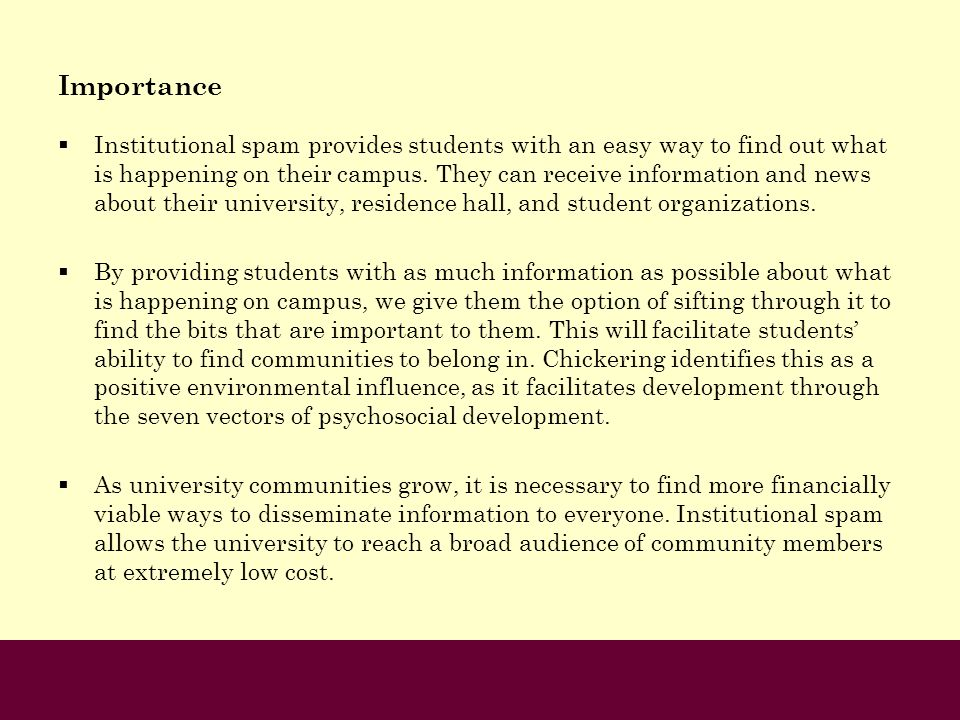 Importance Institutional spam provides students with an easy way to find out what is happening on their campus. They can receive information and news