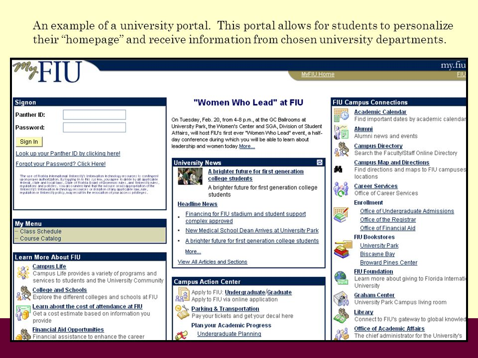 An example of a university portal. This portal allows for students to personalize their homepage and receive information from chosen university depart