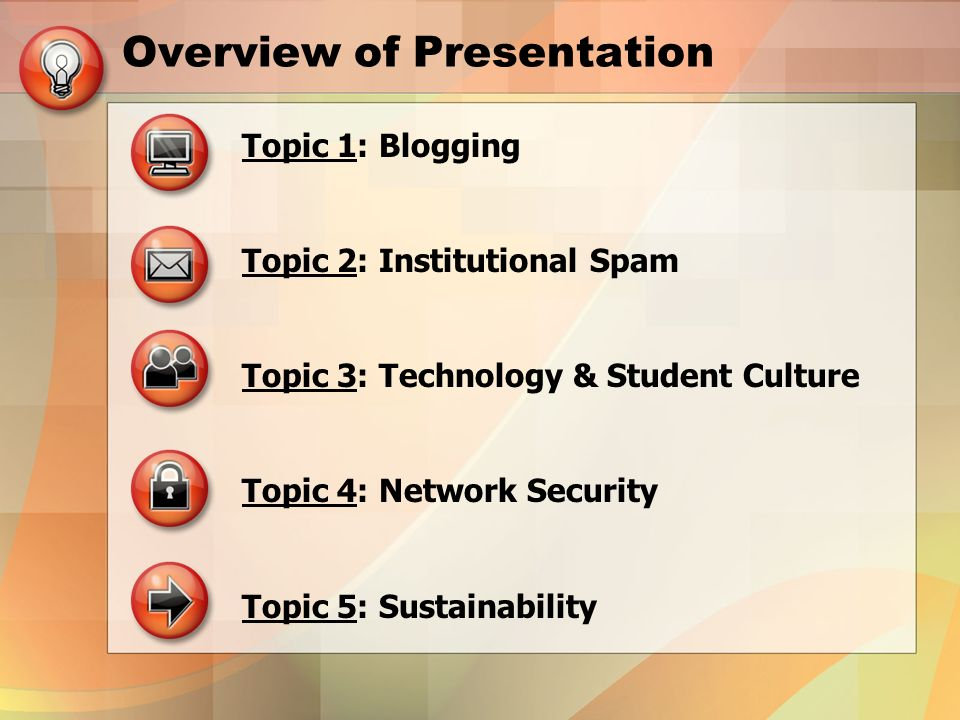 Overview of Presentation Topic 1: Blogging Topic 2: Institutional Spam Topic 3: Technology & Student Culture Topic 4: Network Security Topic 5: Sustainability