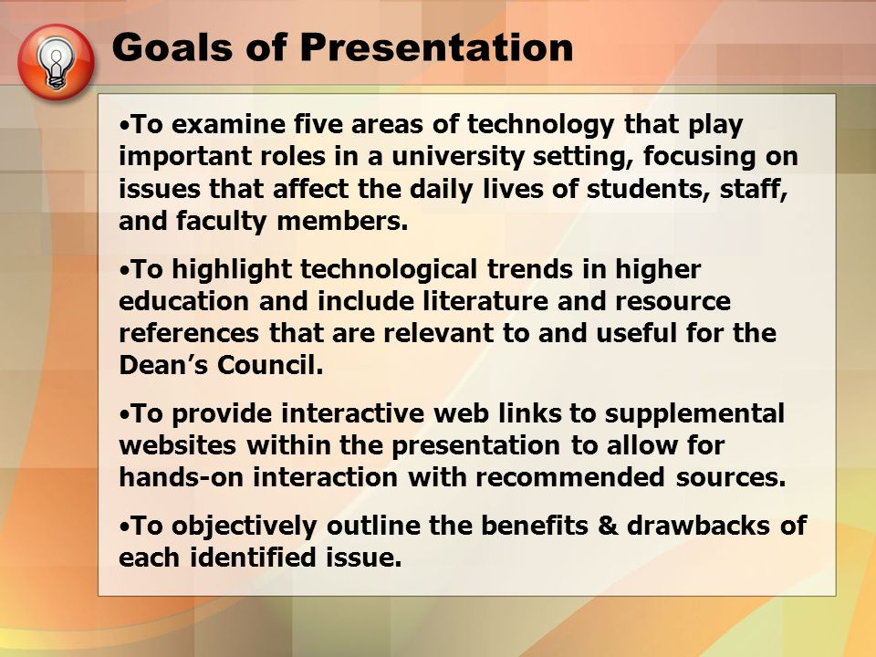 Goals of Presentation To examine five areas of technology that play important roles in a university setting, focusing on issues that affect the daily lives of students, staff, and faculty members.