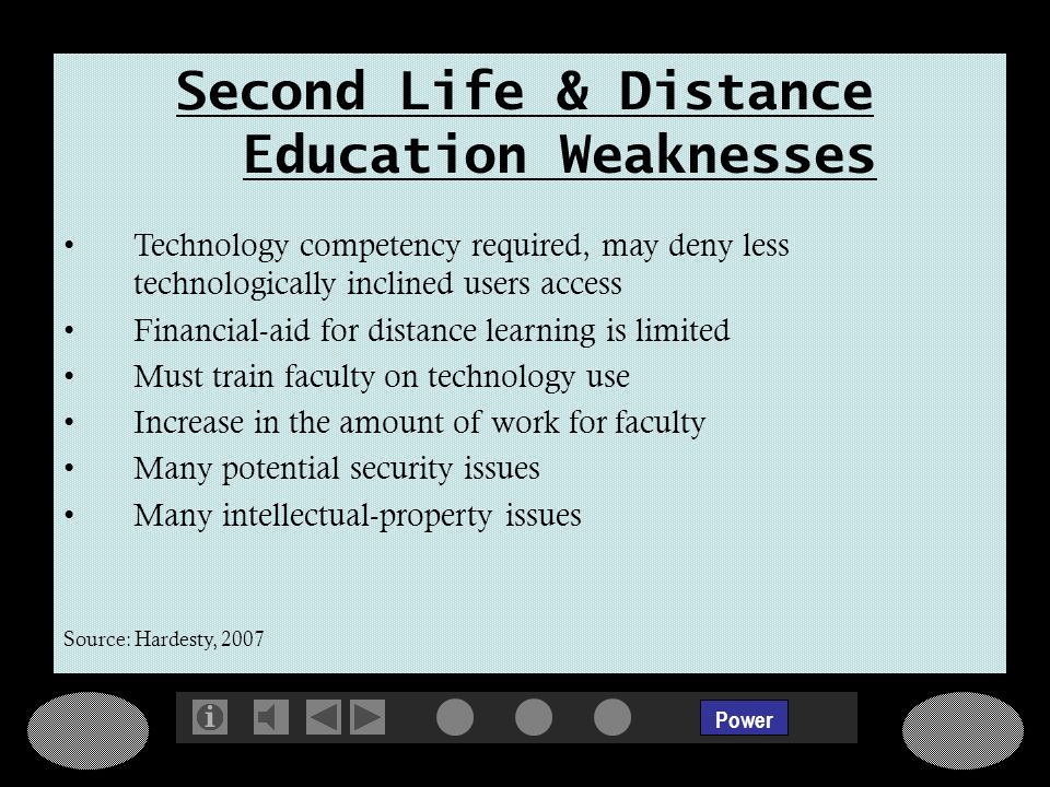 Power Second Life & Distance Education Weaknesses Technology competency required, may deny less technologically inclined users access Financial-aid for distance learning is limited Must train faculty on technology use Increase in the amount of work for faculty Many potential security issues Many intellectual-property issues Source: Hardesty, 2007