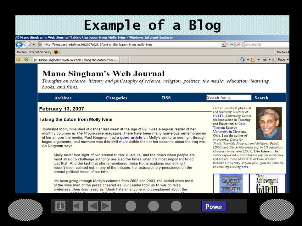 Power Example of a Blog