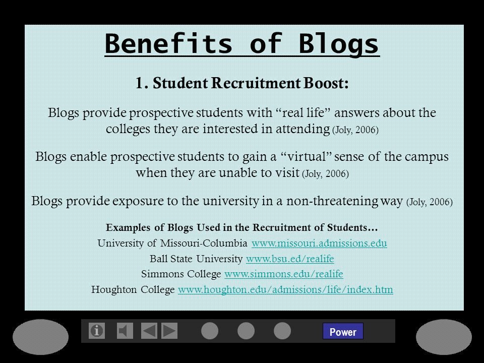 Power Benefits of Blogs 1.