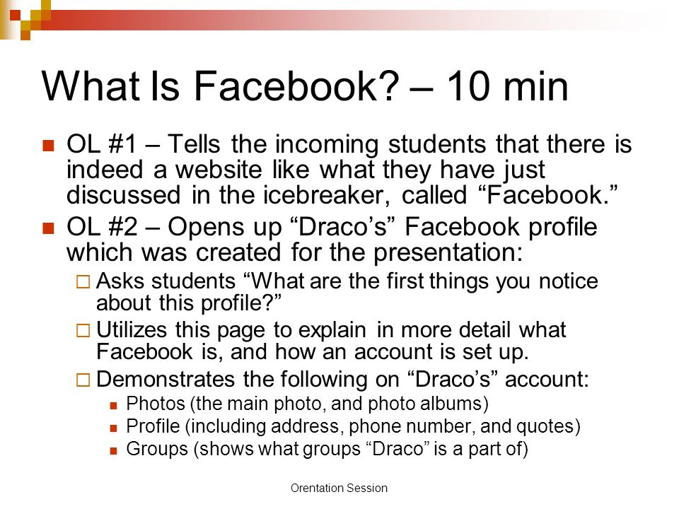Orentation Session What Is Facebook.