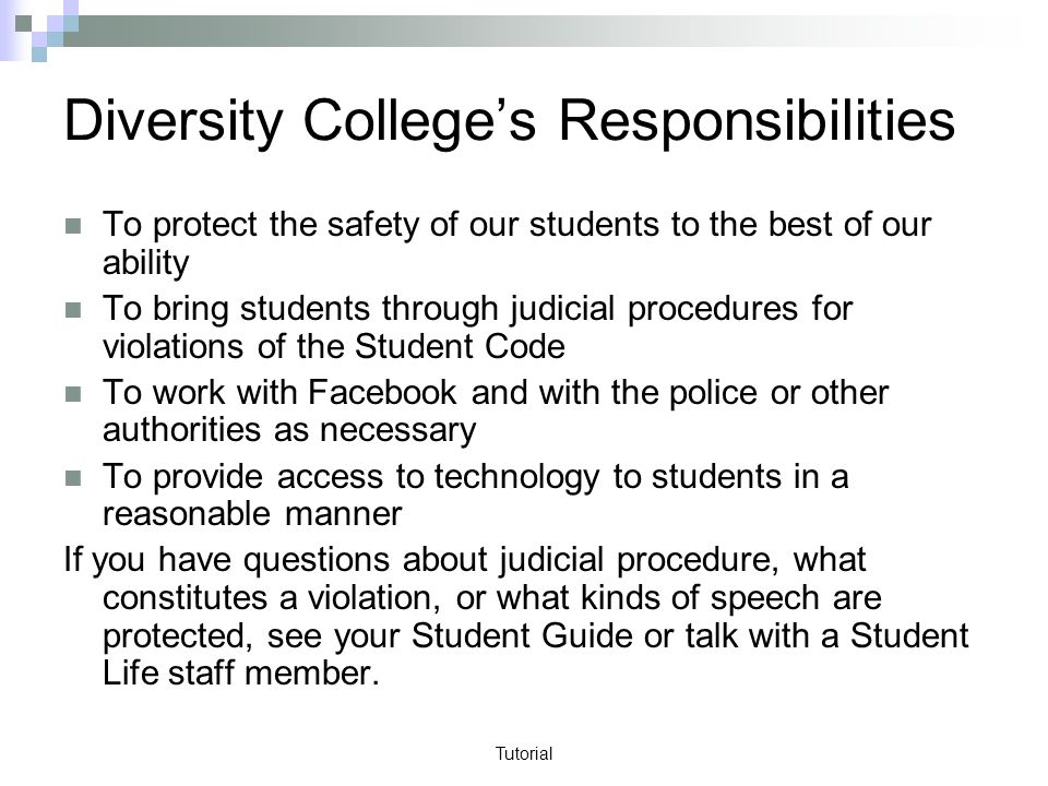 Tutorial Diversity Colleges Responsibilities To protect the safety of our students to the best of our ability To bring students through judicial procedures for violations of the Student Code To work with Facebook and with the police or other authorities as necessary To provide access to technology to students in a reasonable manner If you have questions about judicial procedure, what constitutes a violation, or what kinds of speech are protected, see your Student Guide or talk with a Student Life staff member.