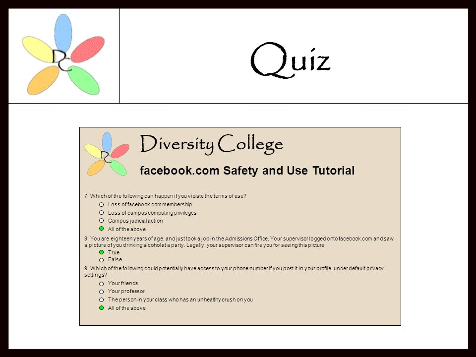 Diversity College facebook.com Safety and Use Tutorial 3.
