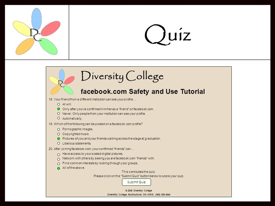 Diversity College facebook.com Safety and Use Tutorial 14.