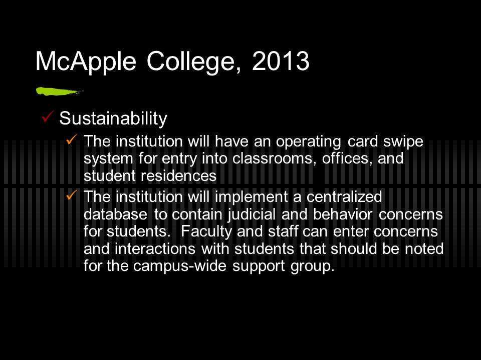 McApple College, 2013 Sustainability The institution will have an operating card swipe system for entry into classrooms, offices, and student residenc
