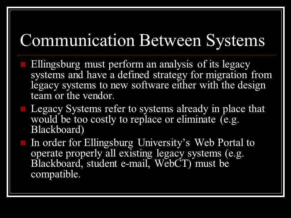 Communication Between Systems Ellingsburg must perform an analysis of its legacy systems and have a defined strategy for migration from legacy systems to new software either with the design team or the vendor.