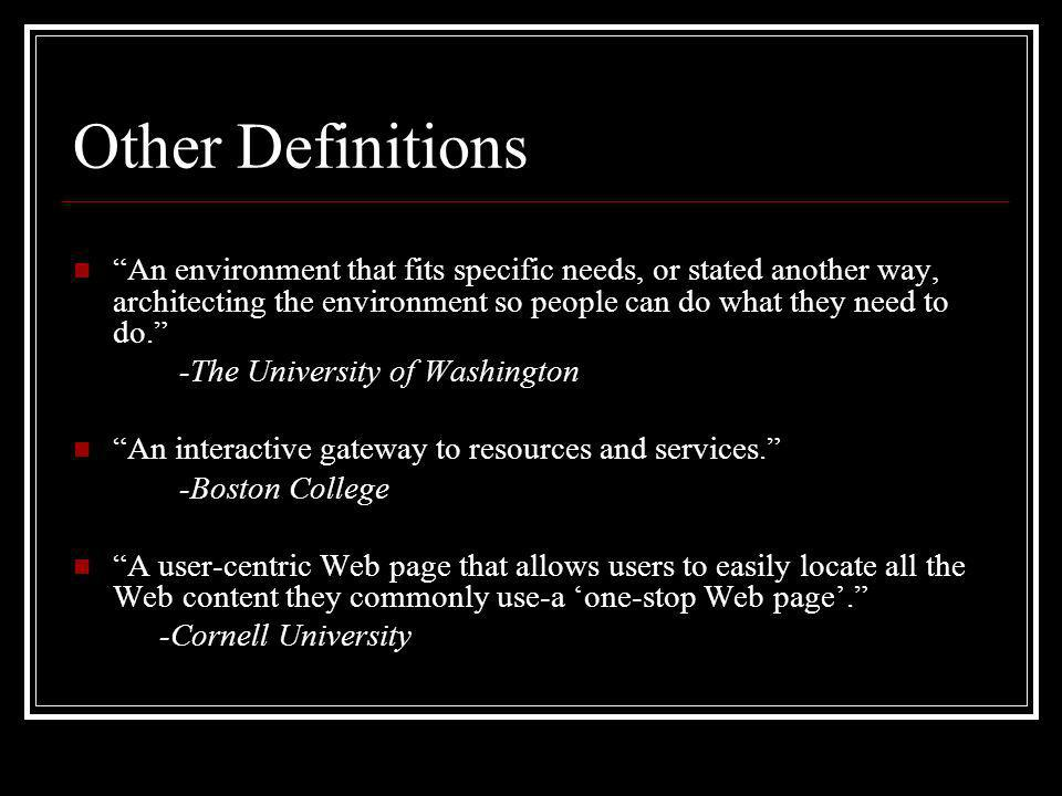 Other Definitions An environment that fits specific needs, or stated another way, architecting the environment so people can do what they need to do.