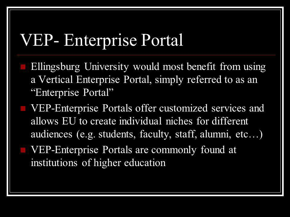 VEP- Enterprise Portal Ellingsburg University would most benefit from using a Vertical Enterprise Portal, simply referred to as an Enterprise Portal VEP-Enterprise Portals offer customized services and allows EU to create individual niches for different audiences (e.g.